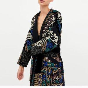 Zara Embroidered Kimono Coat